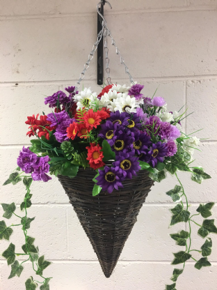 Round Wicker Artificial Flower Cone Hanging Basket - Purple, Red and White with trailing Ivy